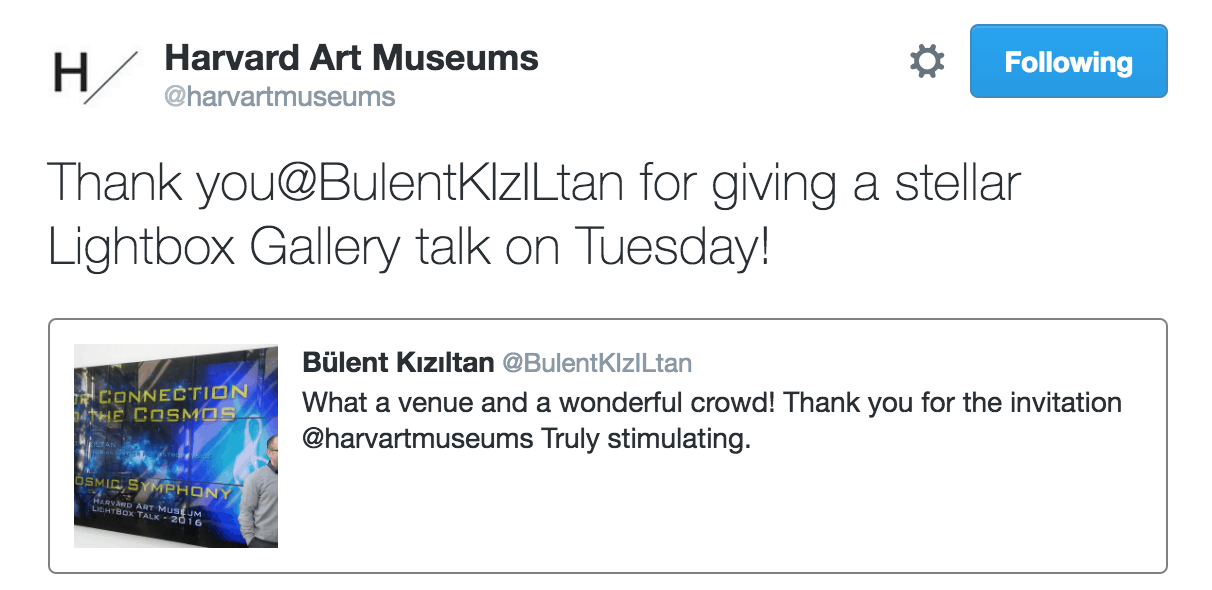 Harvard art museum tweet for Bulent Kiziltan