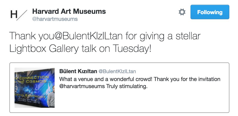 Harvard art museum tweet for Bulent Kiziltan